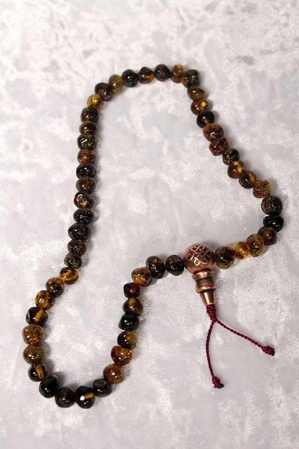 Буддийские четки 54 бусин из натурального янтаря