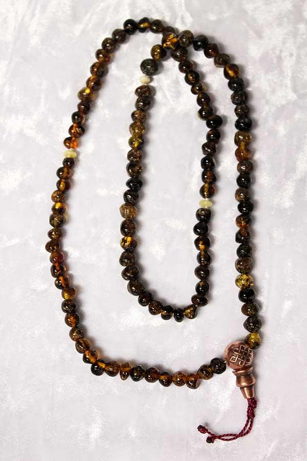Буддийские четки 108 бусин из натурального янтаря
