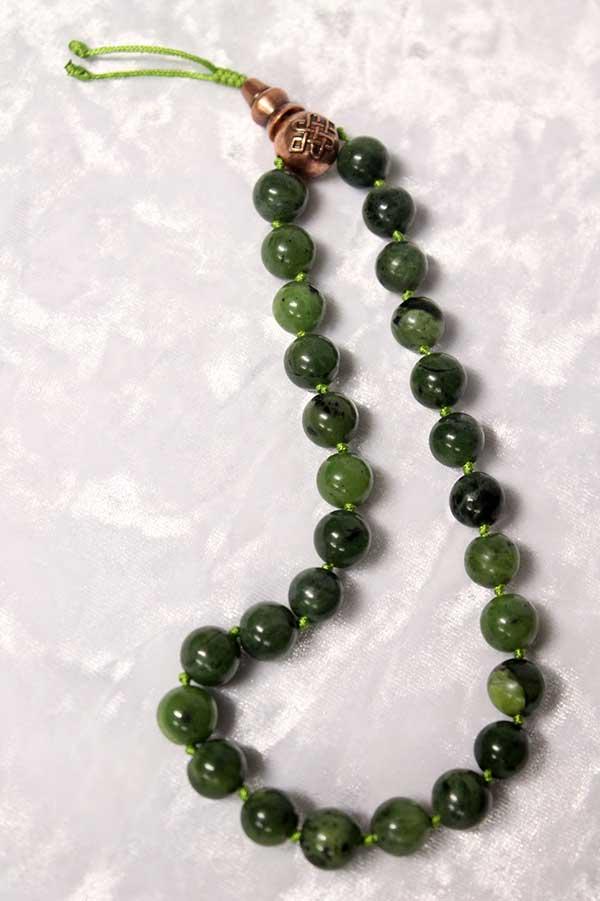 Буддийские четки 27 бусин из натурального зеленого нефрита