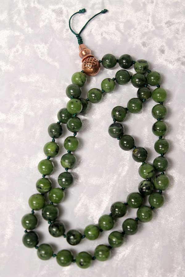 Буддийские четки 54 бусин из натурального зеленого нефрита