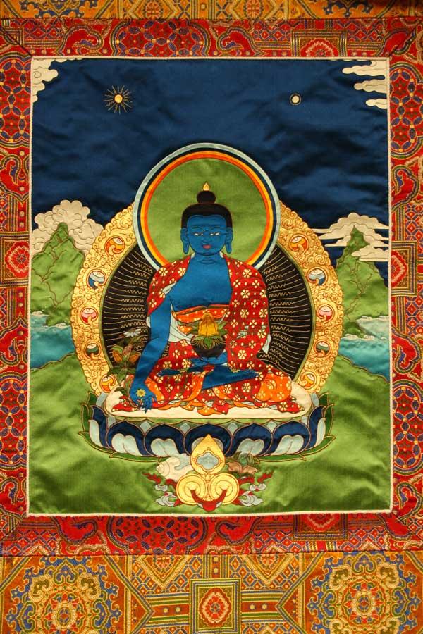 Буддийская аппликация тханка Будда Врачевания Менла