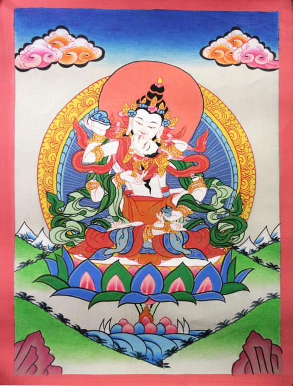 Буддийская тханка Ваджрасаттва Яб Юм