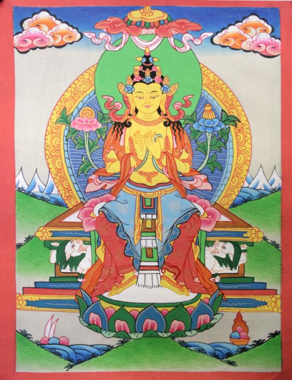 Буддийская тханка Будда Майтрейя