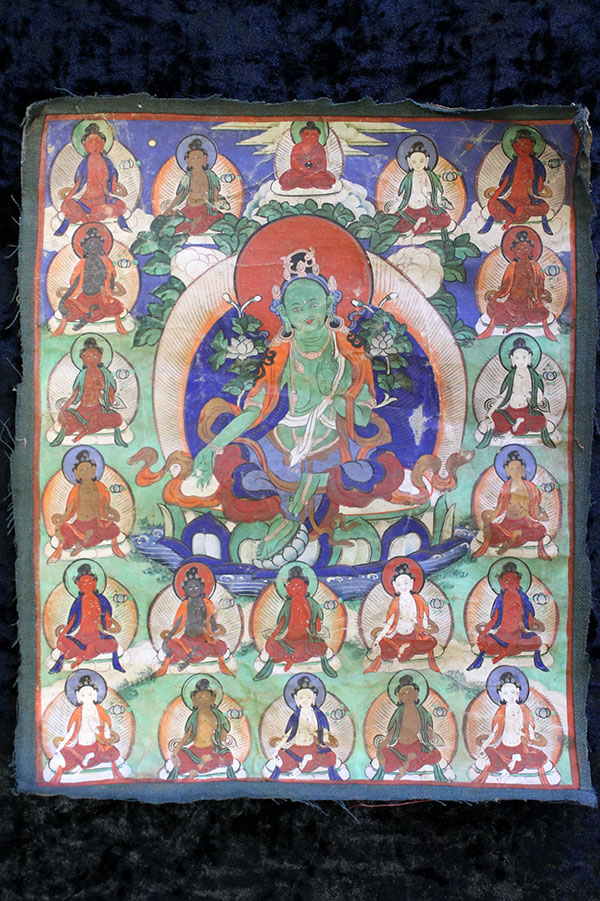 Буддийская тханка Зеленая Тара